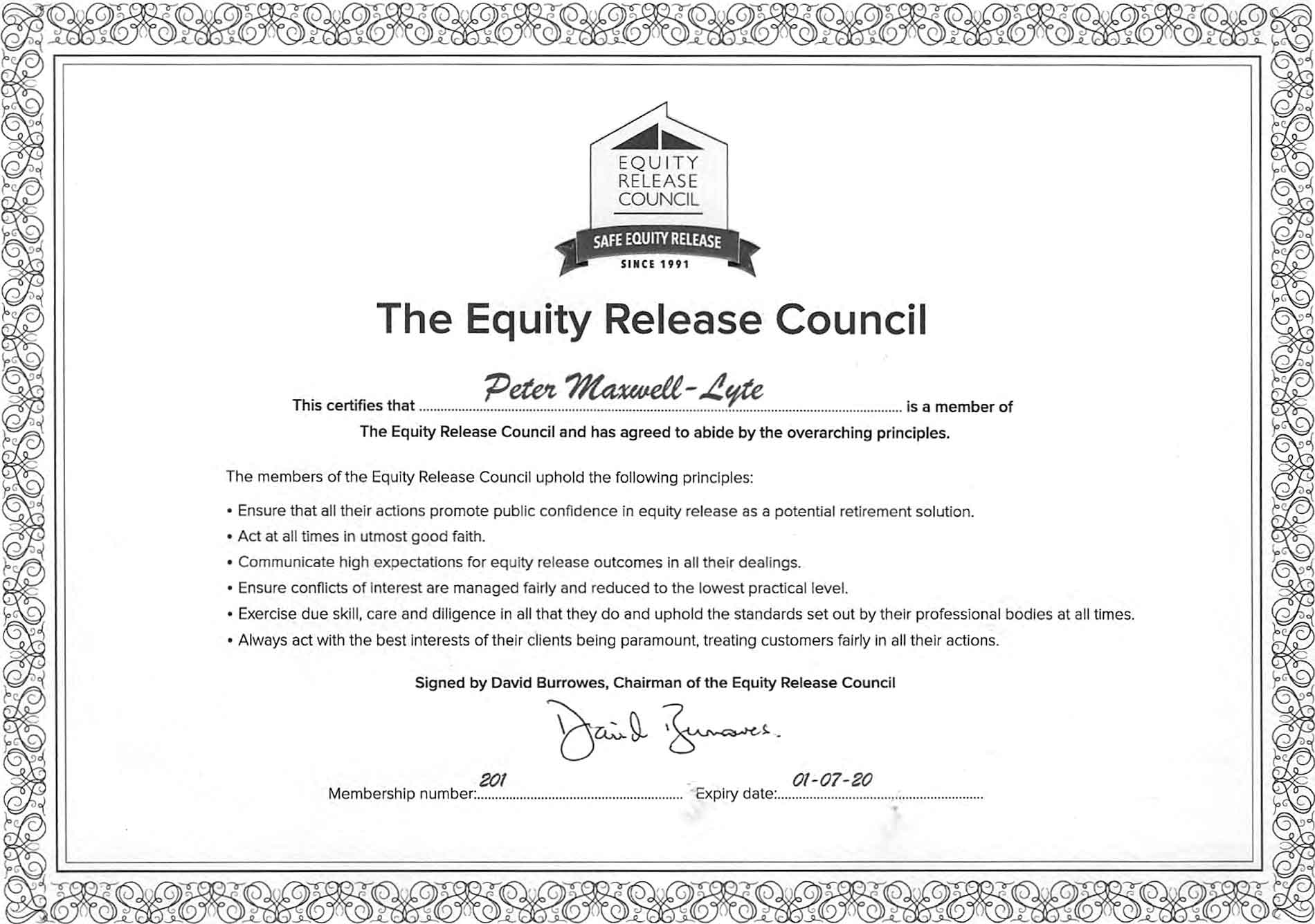 Equity Release Council Certificate 2020