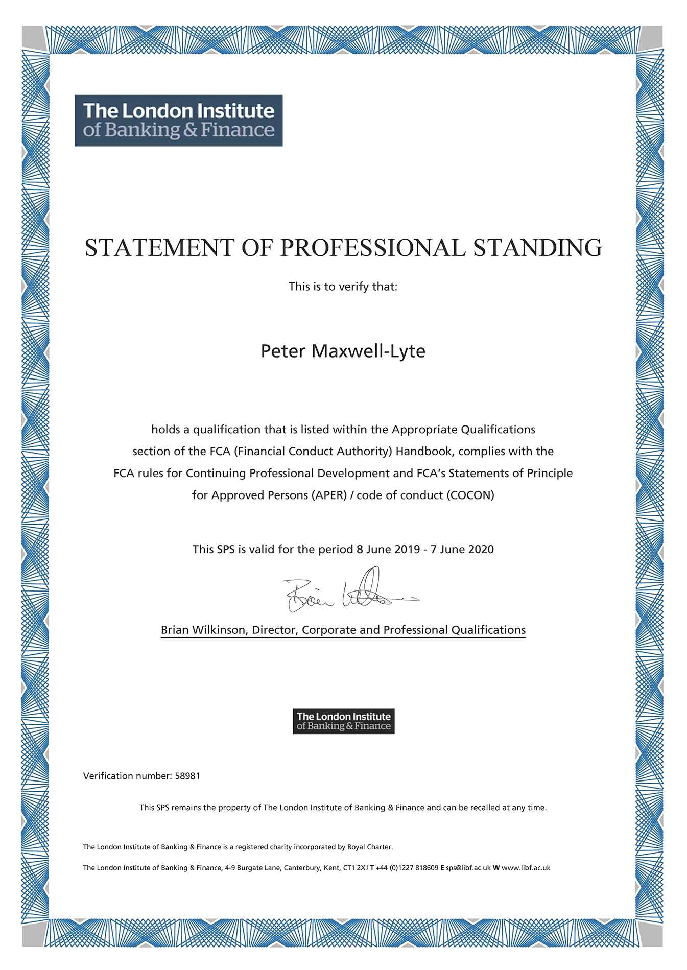 The London Institute of Banking and Finance Statement of Professional Standing for Peter Maxwell-Lyte
